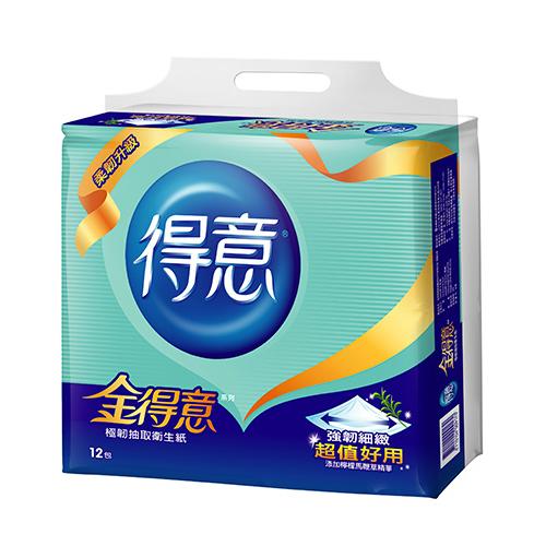 金得意極韌抽取式衛生紙100抽^~12包
