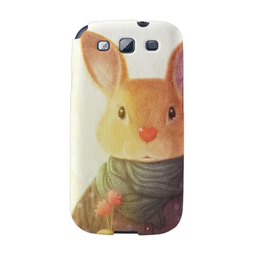 【韓國正品Makase】※Rabbit※ SAMSUNG Galaxy S3 i9300 質感手機保護殼 附贈胸針及簡易立架