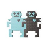 【新生活家】機器人雙色地墊組合-鐵灰藍12入