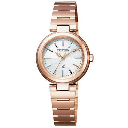 CITIZEN xC 優美風情時尚腕錶-玫塊金 FE2022-52A