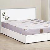 《顛覆設計》卡娃伊熊熊白色5尺雙人床頭片+床底(不含床墊)
