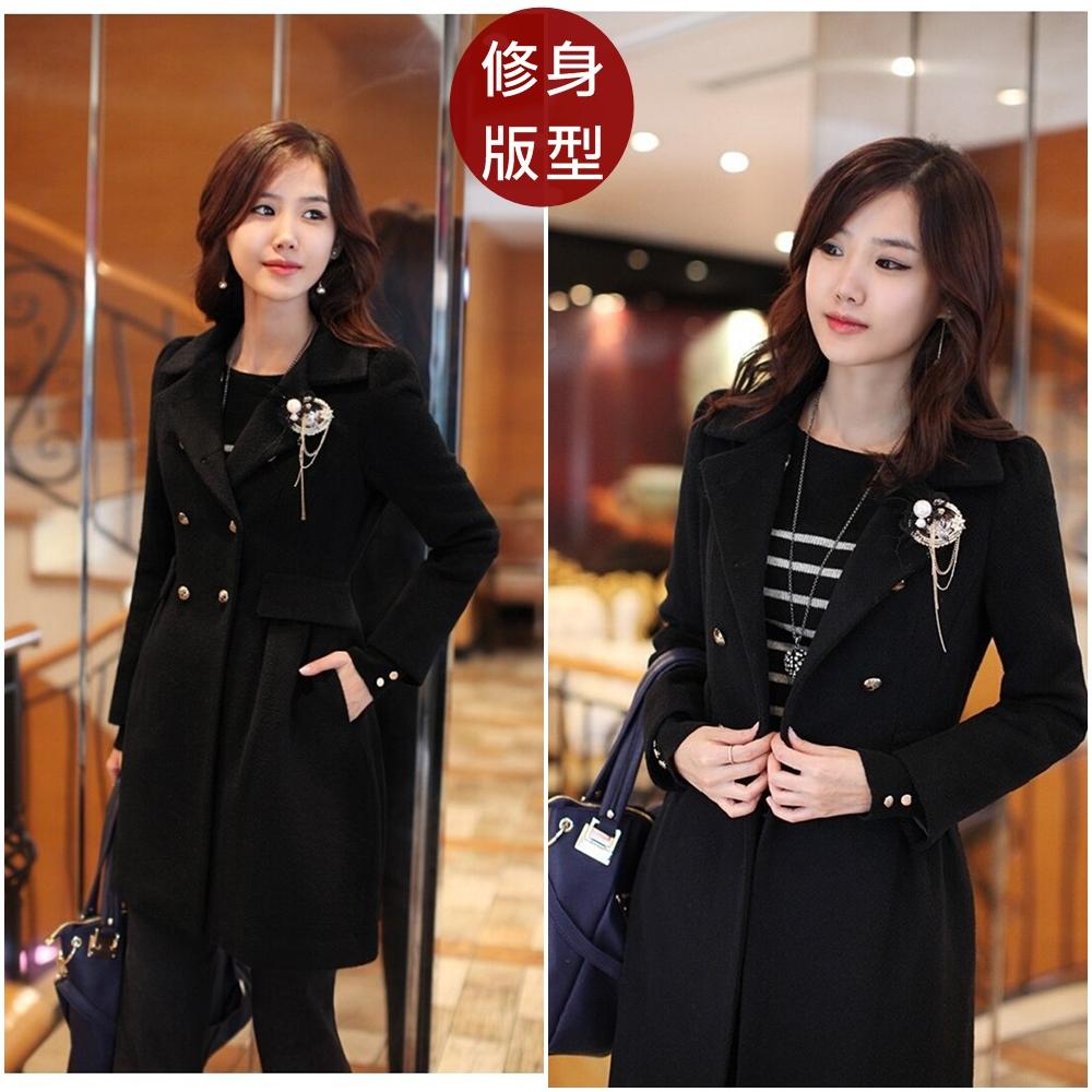 【韓系女衫】韓國時尚裙擺修身雙排扣毛呢風大衣外套