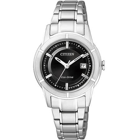 CITIZEN Eco-Drive 世紀都會時尚女錶-黑/銀 FE1030-50E
