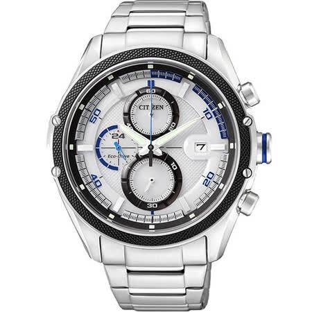 CITIZEN Eco-Drive 光動能計時腕錶-銀 CA0120-51A