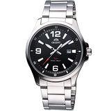 ORIENT 時尚運動風SP鋼帶腕錶-黑/銀 FUNE1005B