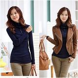 【韓系女衫】時尚單排扣高領修身針織毛衣