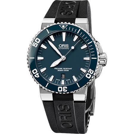 ORIS Aquis 時間之海專業潛水機械腕錶-藍綠/橡膠 733.7653.41.55RS