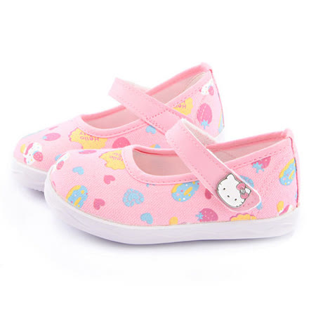 童鞋城堡-Hello Kitty 中小童 甜美繫帶帆布鞋715910-粉
