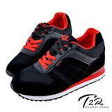 【T2R】玩色系列 情侶款 內增高休閒運動鞋 5600-0125 黑 ↑8cm