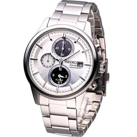 SEIKO Solar 科技新貴 鬧鈴腕錶V172-0AA0A白SBPY065G