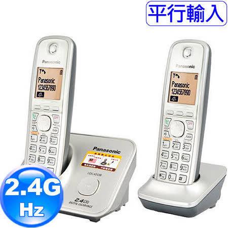 國際牌Panasonic新款斷電可用2.4G數位大字體雙手機無線電話KX-TG3712時尚銀