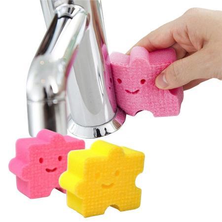 日本製造AISEN黏貼式(小塊拼圖)浴室洗臉台海綿刷 2包4入裝