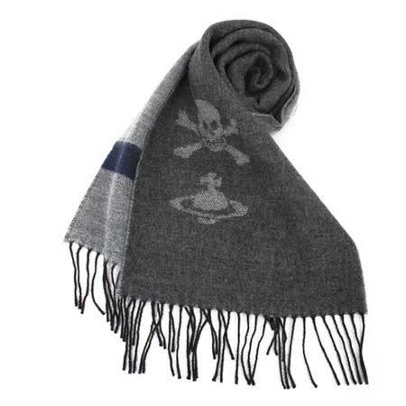 【網購】gohappy 購物網Vivienne Westwood 星球骷髏素色針織圍巾-深灰色價錢統領 百貨