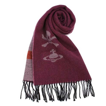 Vivienne Westwood 星球骷髏素色針織圍巾-酒紅色