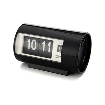 【TWEMCO】機械式 翻頁鐘 復古收藏 圓筒造型 鬧鐘功能 (AP-28 黑色)