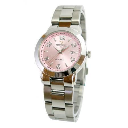 【Valentino】范倫鐵諾甜蜜粉夜光時尚不鏽鋼水晶錶