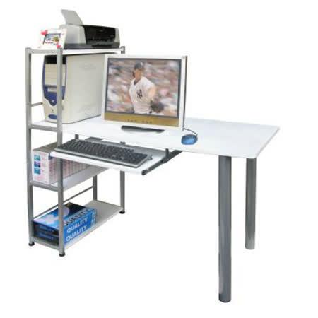 環球-[120公分](寬)置物架型-白色電腦桌[含鍵盤] (台灣製造)