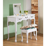 英倫風掀鏡化妝書桌椅組(90cm寬,坐椅可收納)