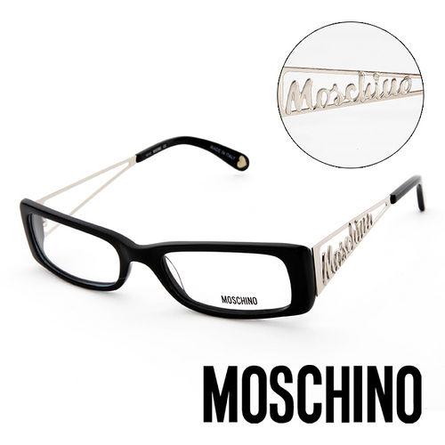 MOSCHINO 義大利 復古金屬LOGO 眼鏡^(黑^) MO01301