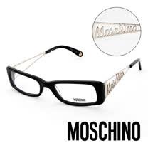 MOSCHINO 義大利設計復古金屬LOGO造型眼鏡(黑) MO01301