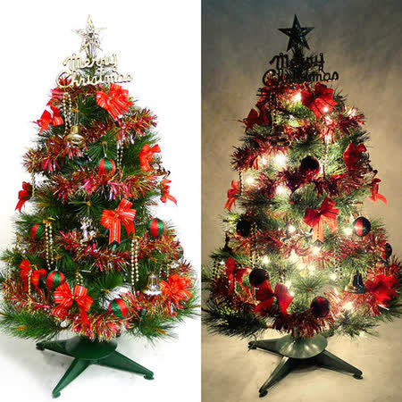 台灣製3尺(90cm)特級松針葉聖誕樹 (紅金色系配件)+100燈樹燈一串
