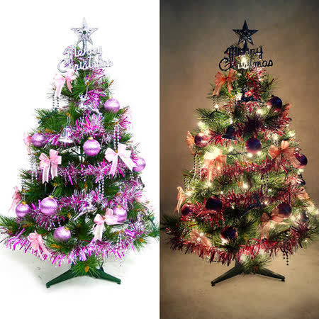 台灣製3尺(90cm)特級松針葉聖誕樹 (銀紫色系配件)+100燈樹燈一串