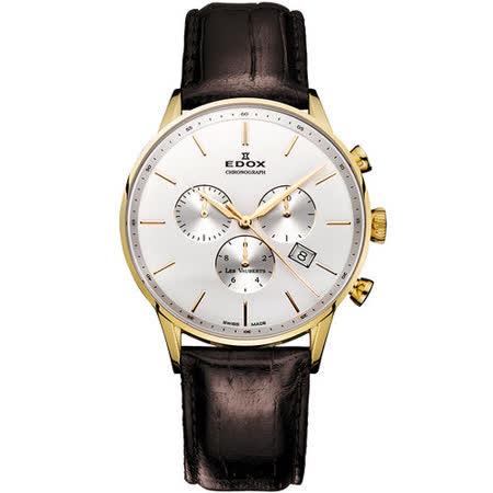 EDOX Les Vauberts 競速都會計時腕錶-白/金框 E10408.37JA.AID