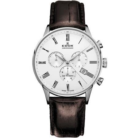 EDOX Les Vauberts 競速羅馬計時腕錶-白/黑時標 E10408.3A.AR
