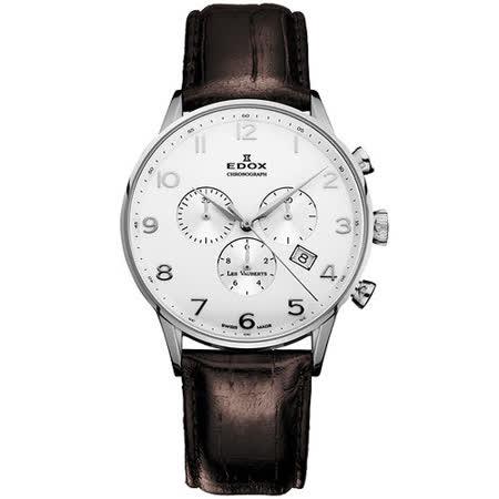EDOX Les Vauberts 競速玩家計時腕錶-白 E10408.3A.ABN