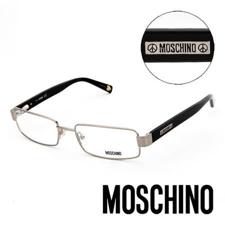 MOSCHINO 義大利設計經典金屬造型平光眼鏡(黑) MO03801