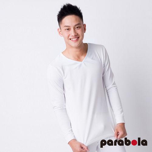 【3M-Parabela】發熱衣-男V領-白色