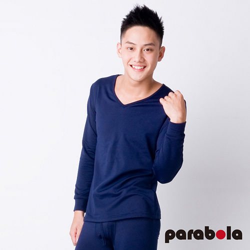 【3M-Parabela】發熱衣-男V領-藍色
