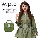 【w.p.c.】腰抽繩九分袖。時尚雨衣/風衣(R1013)_橄欖