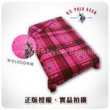 精選美國U.S. POLO ASSN品牌-雙面刷毛四季毯-桃紅
