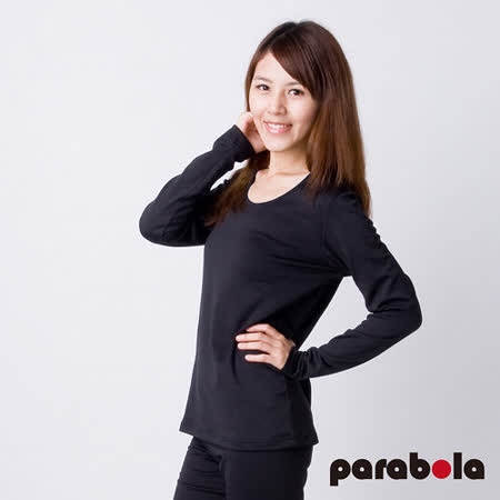 【3M-Parabela】發熱衣-女U領-黑色