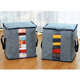 【PS Mall】竹炭衣物儲存袋 收納袋 衣服整理箱 大號 整理袋 儲物袋灰色_2個(J1459)