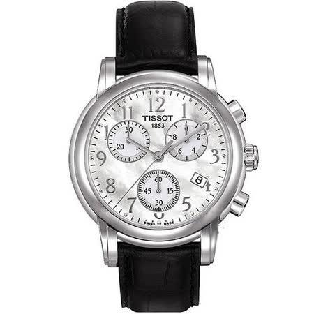 TISSOT Dressport 三眼計時腕錶-白 T0502171611200