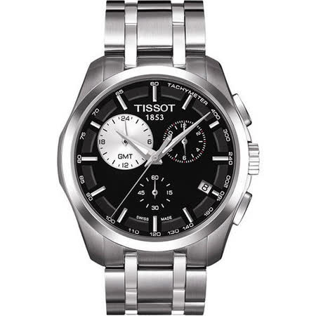TISSOT Couturier 建構師系列GMT計時腕錶-黑 T0354391105100