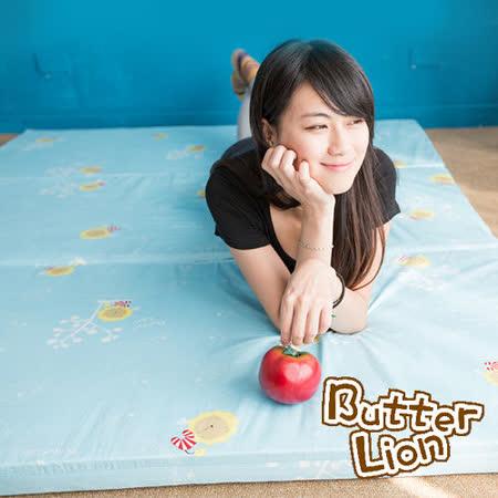【奶油獅】MIT高支撐~臻愛三折記憶聚合床墊+100%精梳純棉床套-單人3尺(水藍)