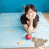 【奶油獅】MIT高支撐~臻愛三折記憶聚合床墊+100%精梳純棉床套-雙人5尺(水藍)