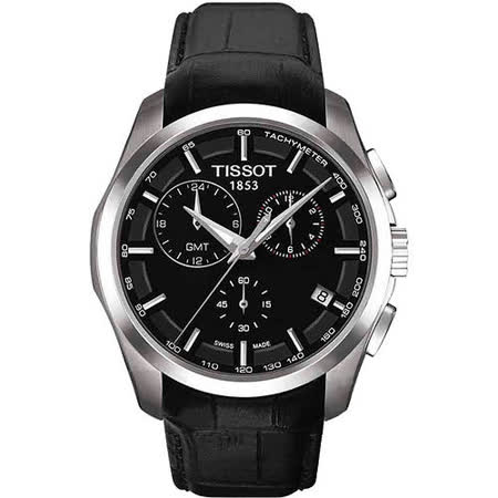 TISSOT Couturier 建構師系列GMT計時腕錶-黑/皮帶 T0354391605100