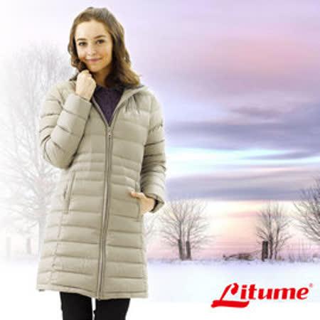 【意都美 Litume】女款 保暖羽絨長大衣/羽絨衣.保暖中長外套_卡其 F3159