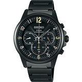 SEIKO SPIRIT 太陽能時尚玩家計時腕錶-IP黑 V175-0AY0SD
