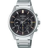 SEIKO SPIRIT 太陽能時尚玩家計時腕錶-黑 V175-0AZ0D