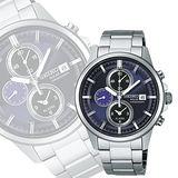 SEIKO SPIRIT 太陽能鬧鈴兩地時間腕錶-深紫 V172-0AA0N