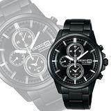 SEIKO SPIRIT 太陽能鬧鈴兩地時間腕錶-IP黑 V172-0AA0K