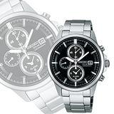 SEIKO SPIRIT 太陽能鬧鈴兩地時間腕錶-黑 V172-0AA0F