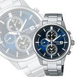 SEIKO SPIRIT 太陽能鬧鈴兩地時間腕錶-藍 V172-0AA0B