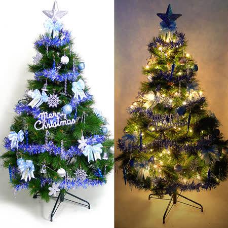 台灣製6尺/6呎(180cm)特級松針葉聖誕樹 (+藍銀色系配件)(+100燈樹燈2串)