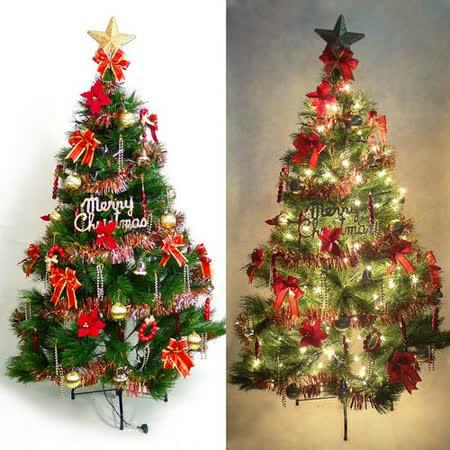 台灣製7尺/7呎(210cm)特級松針葉聖誕樹 (+紅金色系配件組)(+100燈樹燈3串)